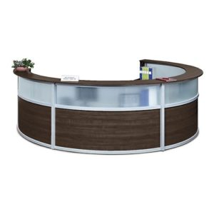 Dark Walnut Four Person Reception Desk